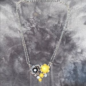 Silver and yellow flower necklace